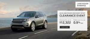 Land Rover Winnipeg 2018 Land Rover Discovery Sport Clearance Event Discount Discounts up to $12,322 Rates as low as 0.9% OAC Shop Now