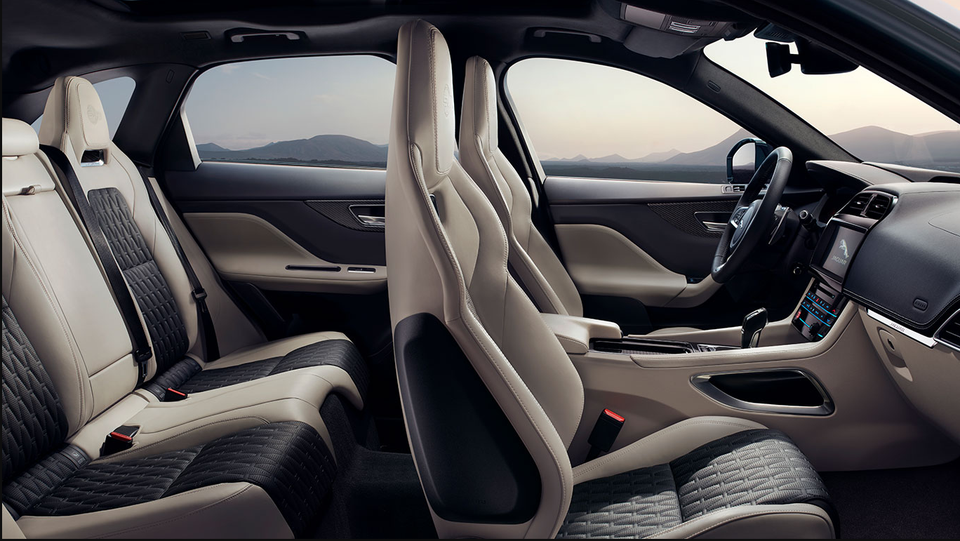 luxurious interior of the F-PACE SVR