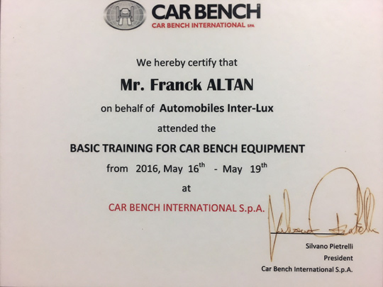 Car Bench Equipment training