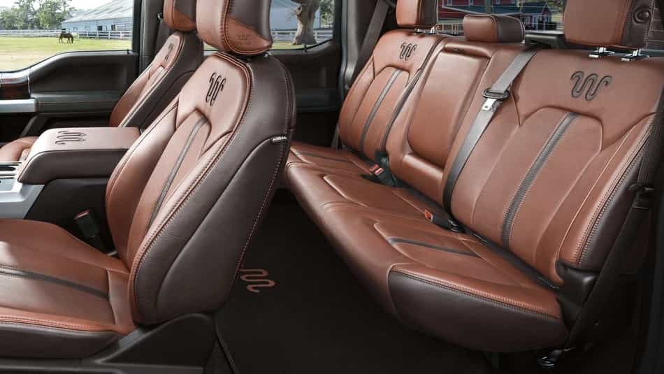 Brown leather seats and trimming of the 2019 F-150 King Ranch