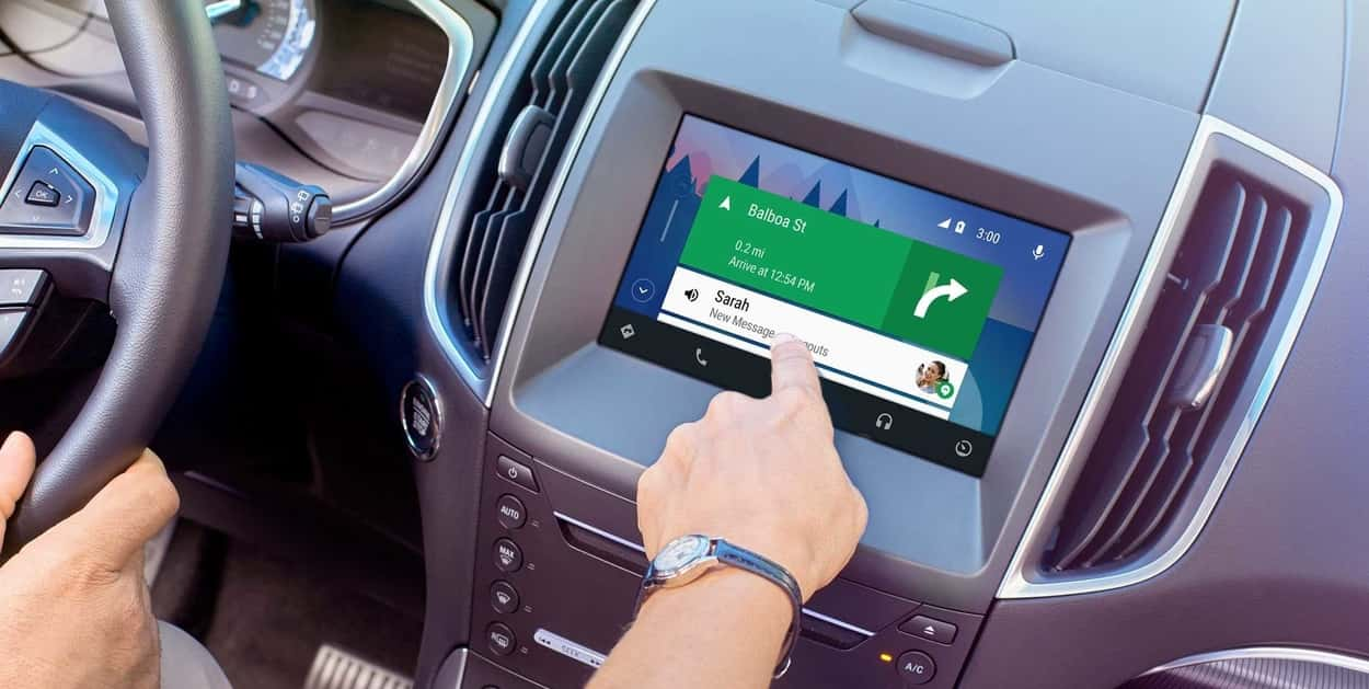 Ford SYNC 3 touchscreen displaying map directions from Android Auto interface