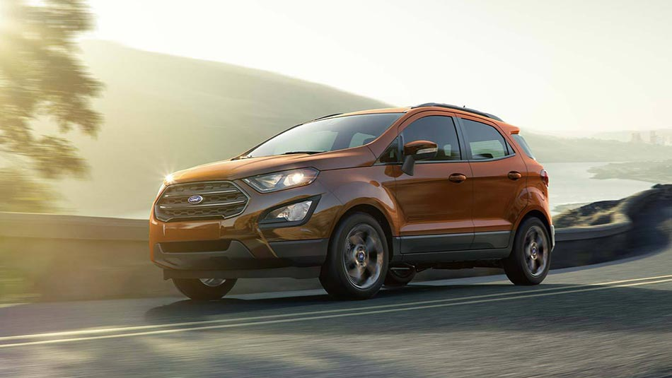 2019 Ford EcoSport driving down highway mountain side