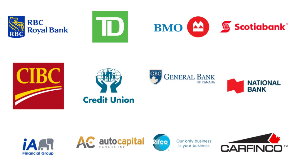 Variety of Financial institution logos - TD - RBC- BMO - Scotia - CIBC - Credit Union. Etc.