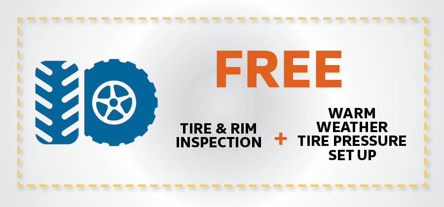 Free Tire & Rim Inspection + Warm Weather Tire Pressure Setup