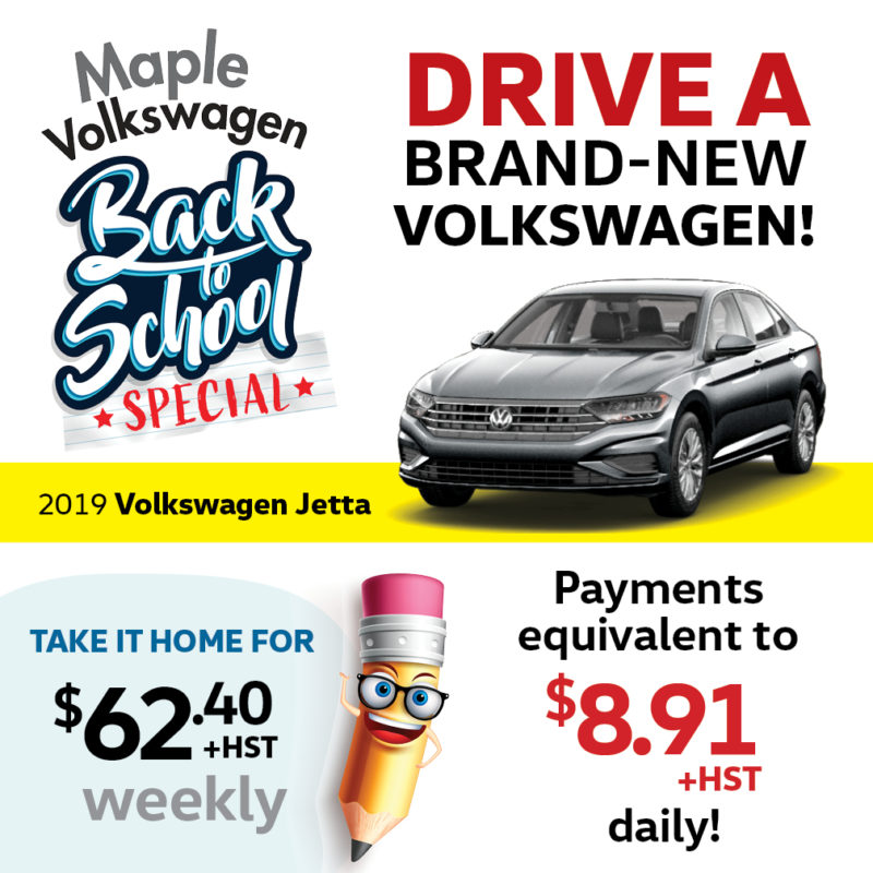 Volkswagen Jetta featured in the back to school special