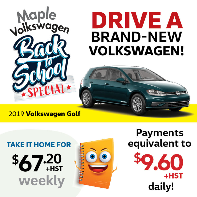 Volkswagen Golf featured in the back to school special