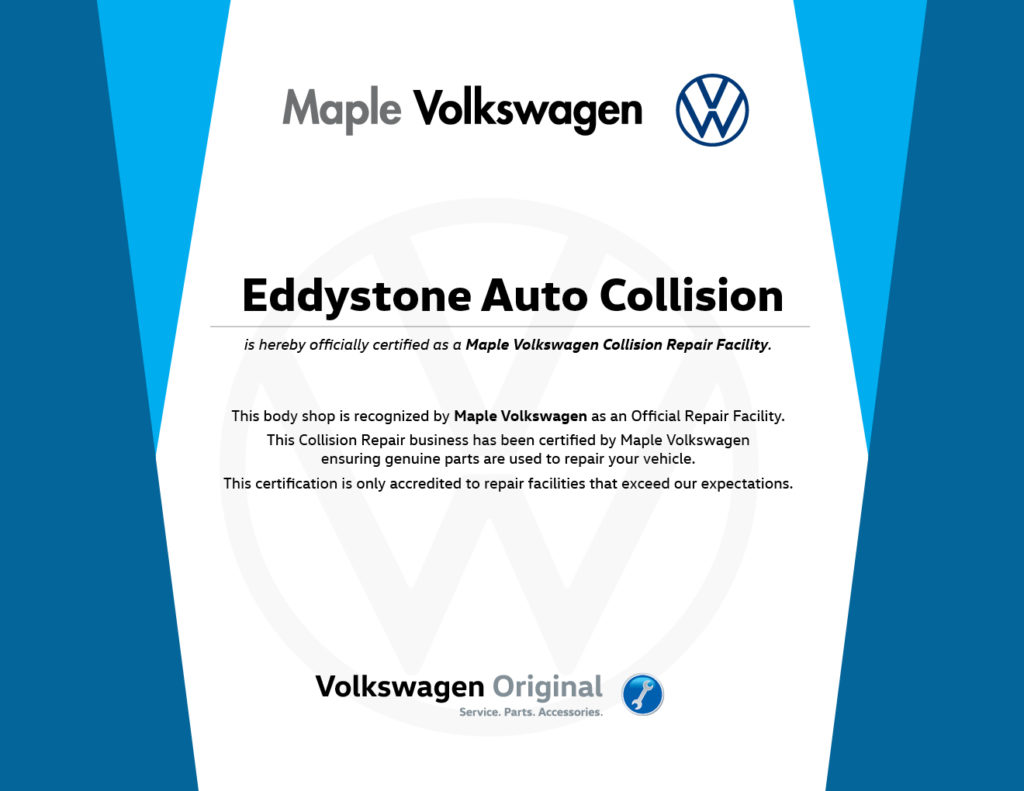 152a 20 Maple Vw Certified Body Shop Certificate