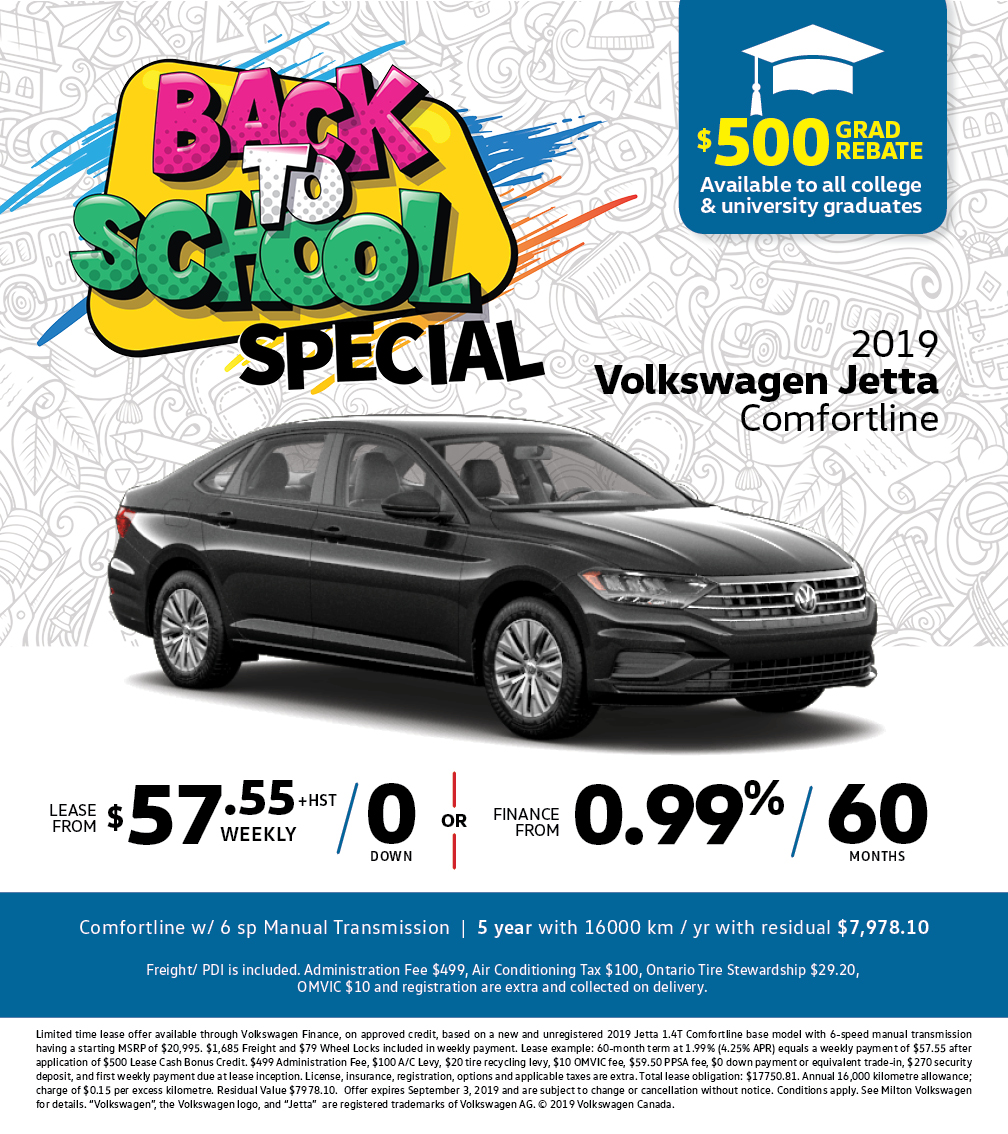 Back to School Special on the 2019 Black Jetta Comfortline