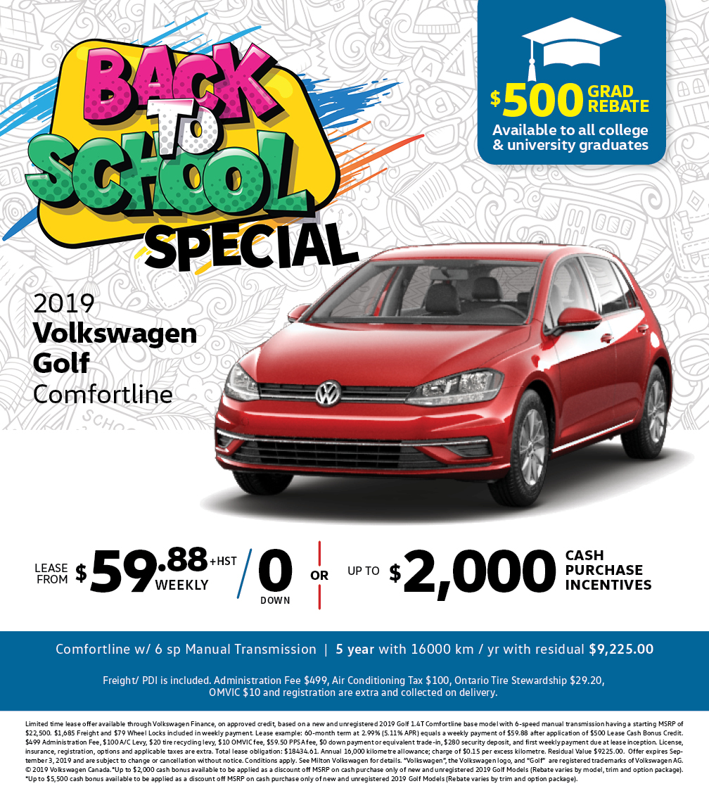 Back to School Special on a 2019 Golf Comfortline at Milton Volkswagen