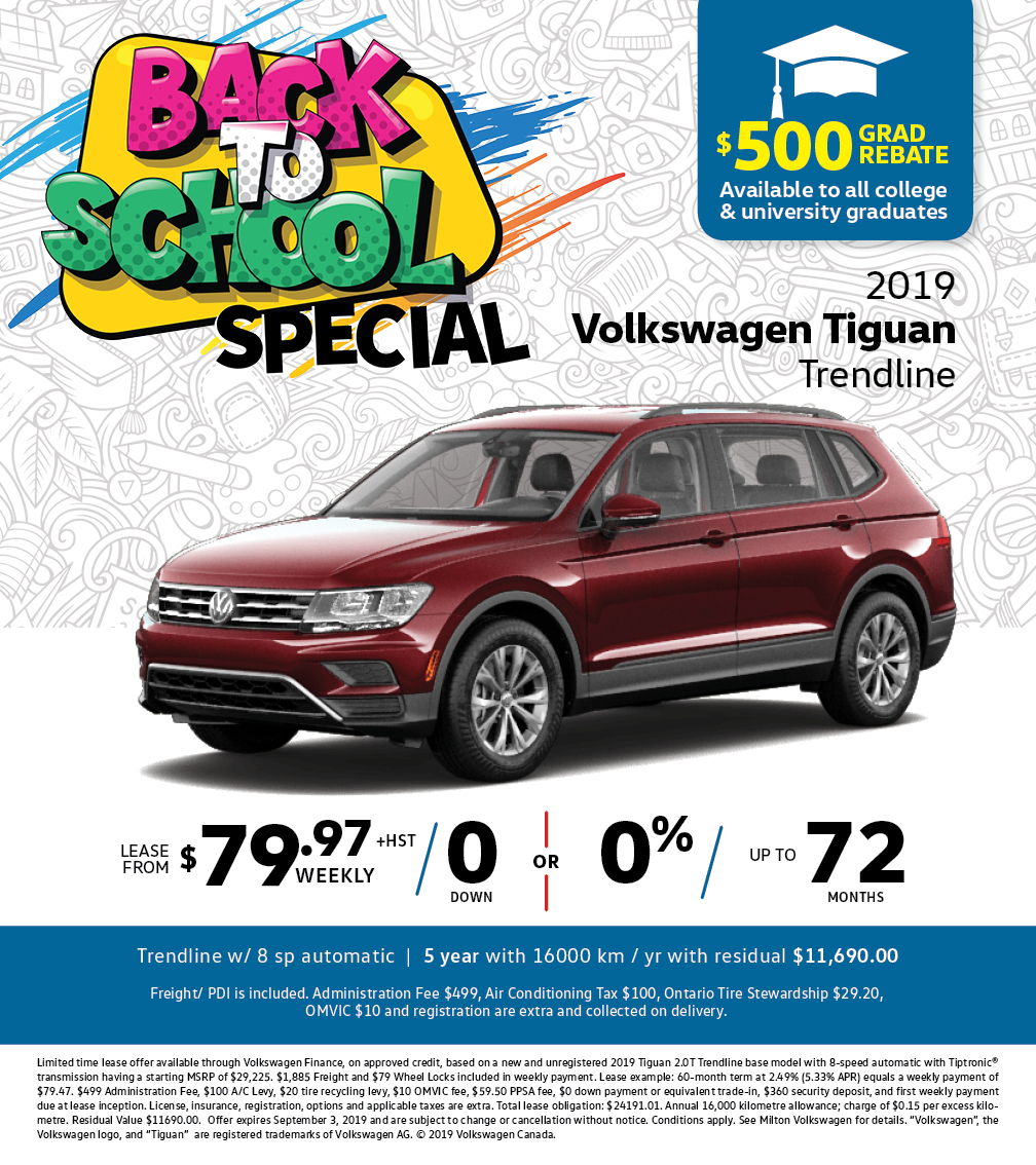 Back to School Special on the 2019 Tiguan Trendline at Milton Volkswagen