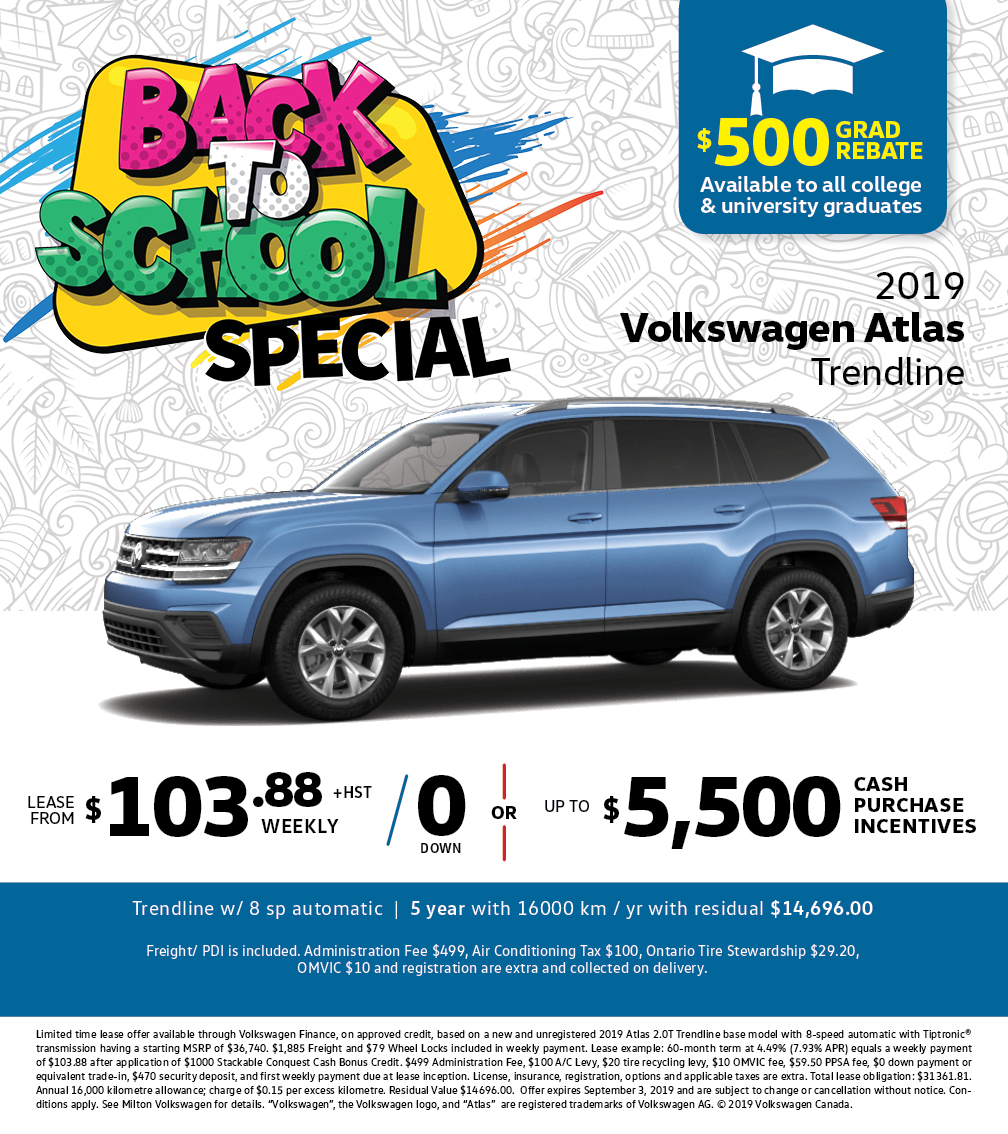 Back to School Special on the 2019 Atlas Trendline at Milton Volkswagen