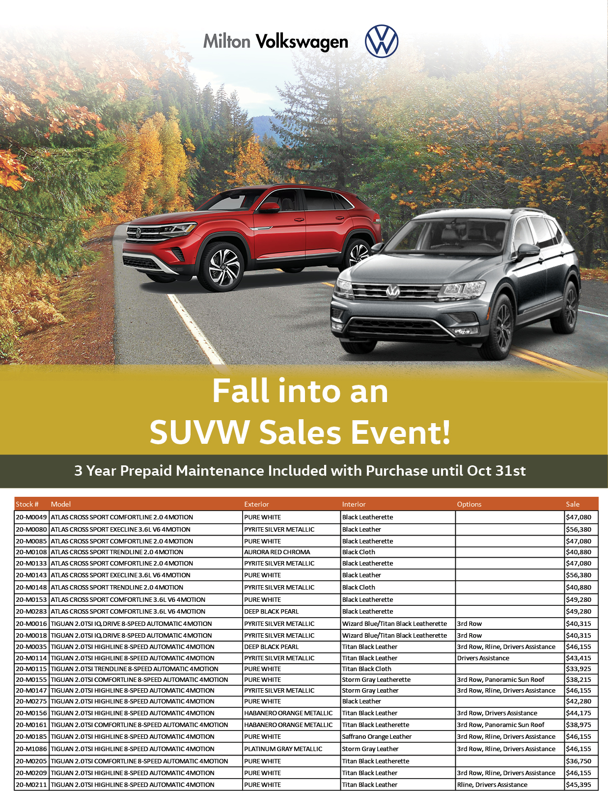 Fall Into An Suvw Sales Event At Milton Vw