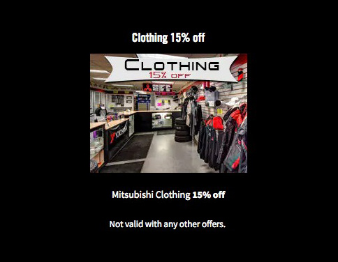 Clothing 15% off