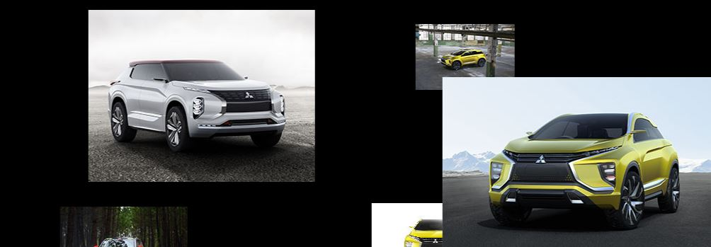 Various pictures of  Mitsubishi concept vehicles on a black background