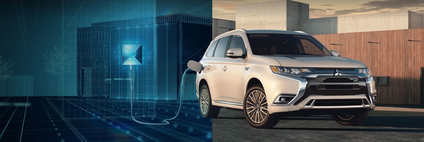 Outlander PHEV charging on futuristic background