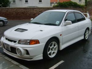Mitsubishi Lancer Evolution V in white