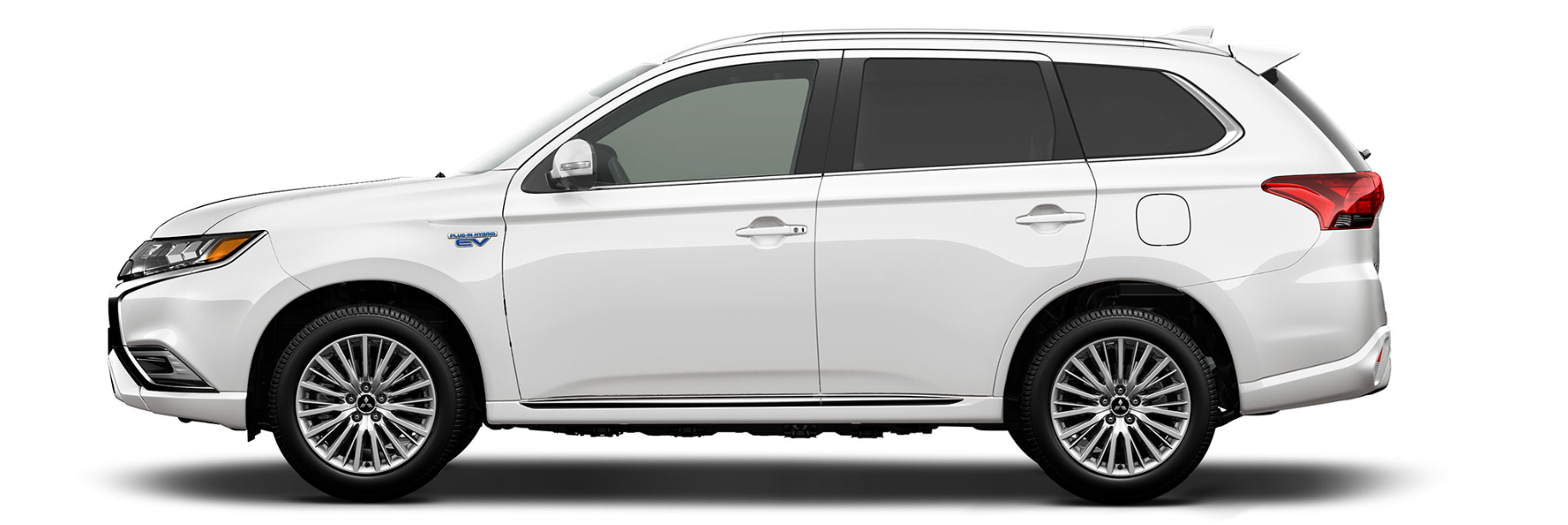Side of a white Outlander PHEV on a white background