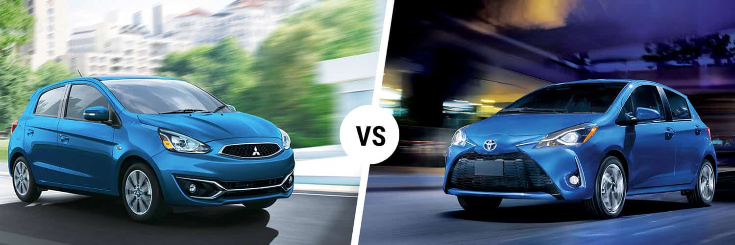 Left: the mitsubishi mirage driving fast; right: the Toyota Yaris also driving fast