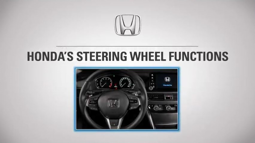 Accord Steering Wheel Features in caps with an imapge of the Honda Accord Steering wheel at the botto.
