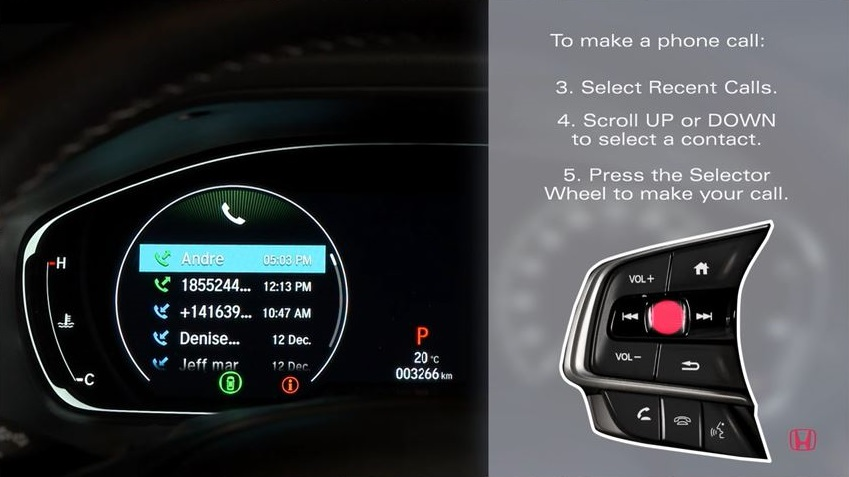 the Honda Accord Driver Information Interface displaying the drivers contacts