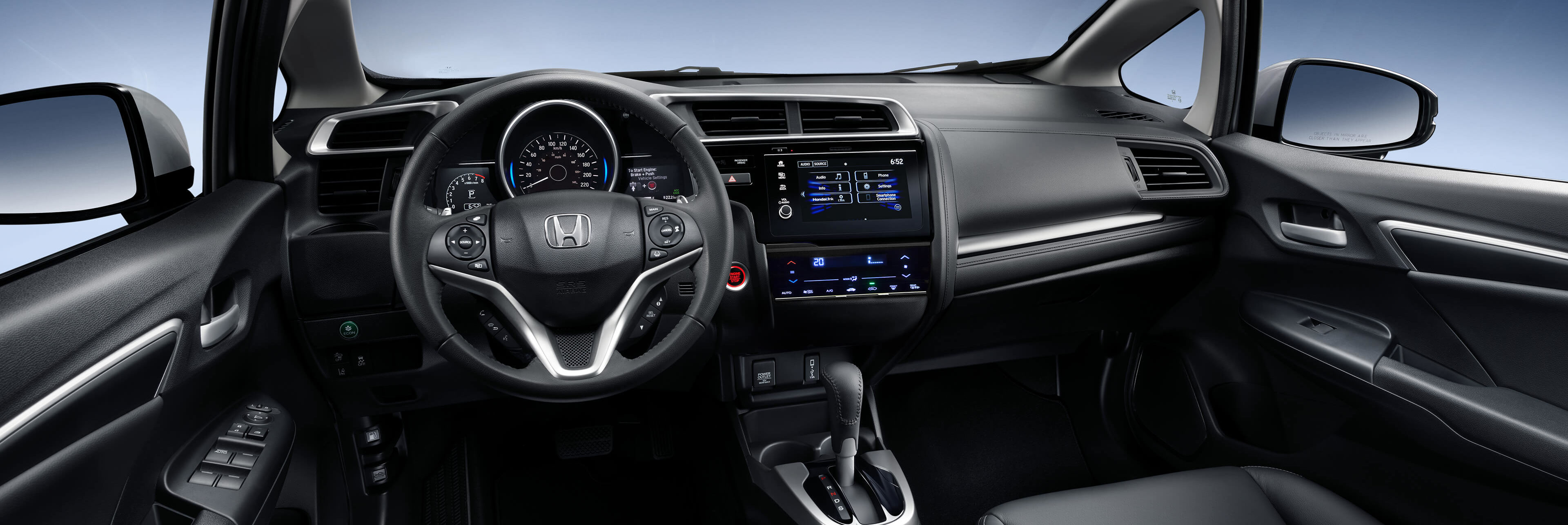 Honda Fit Interior- Steering wheel and front console