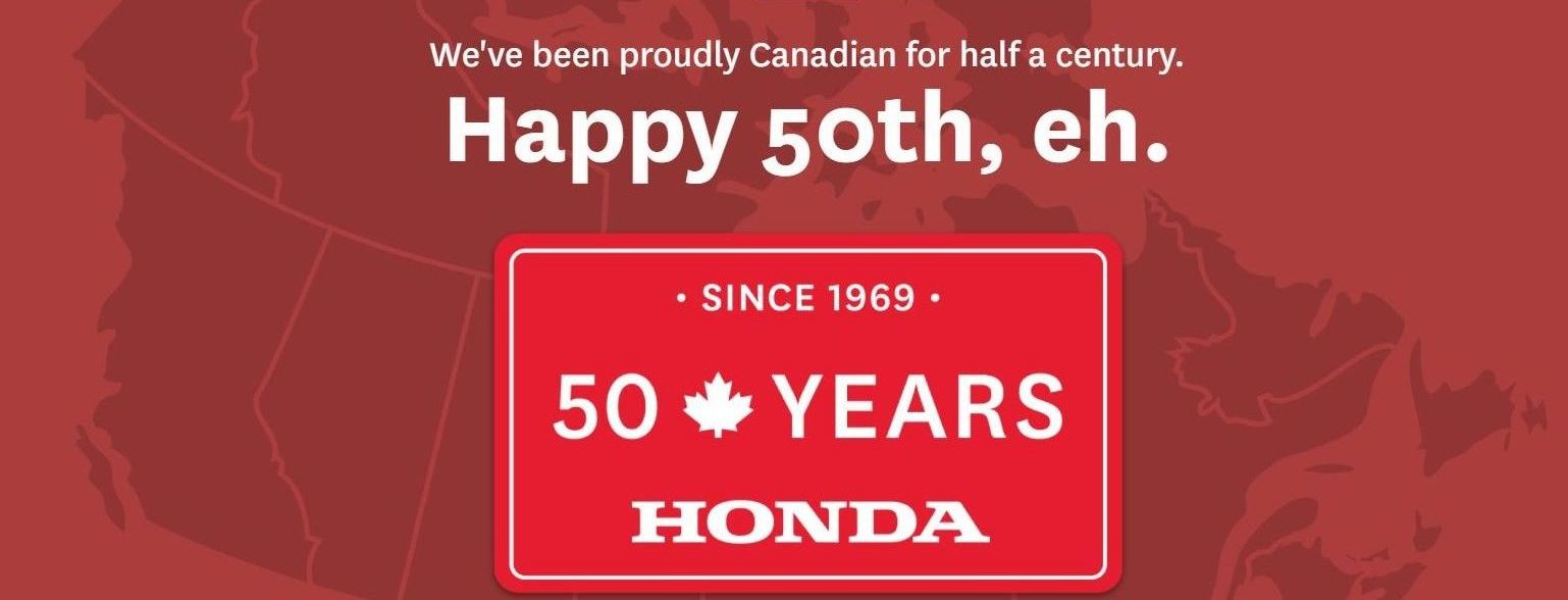 "Red Canadian Map in the background with ""Happy 50th"" text"
