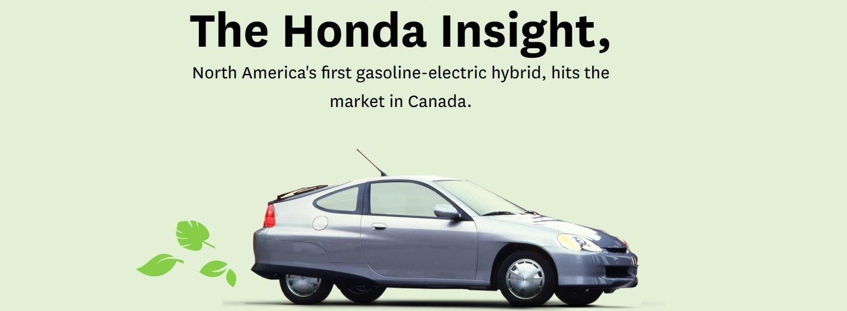 "The Honda Insight with text ""North Americas first gasoline-electric hybrid"""