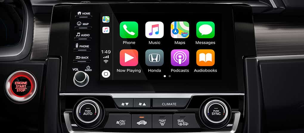 Apple CarPlay displayed on the Honda Civic's 7-inch touchscreen display