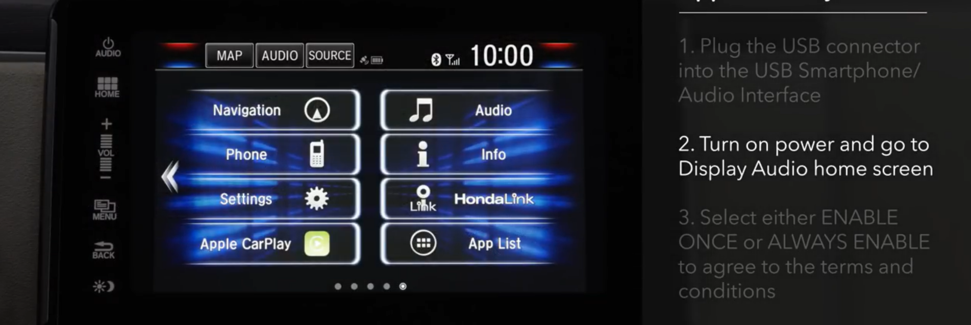 Apple CarPlay connection steps
