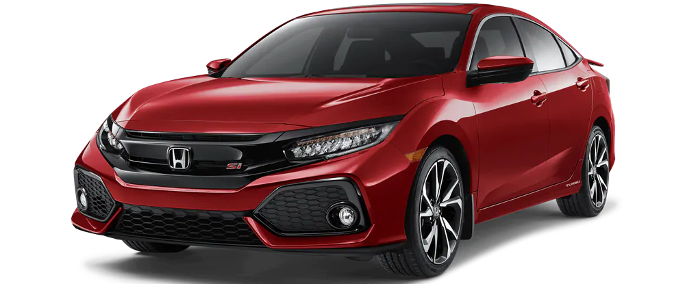 Red Honda Civic Sedan Si front view