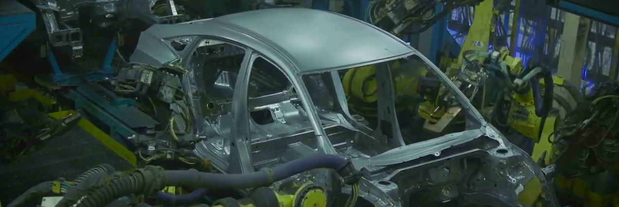 Frame of Honda vehicle being constructed in a plant