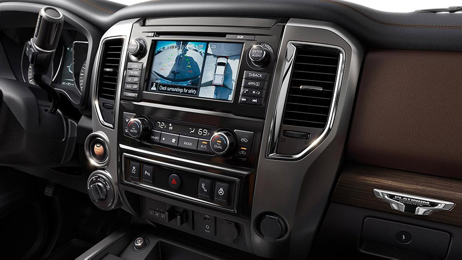 Nissan Titan XD interior shown in Black/Brown Leather, highlighting Intelligent AroundView Monitor