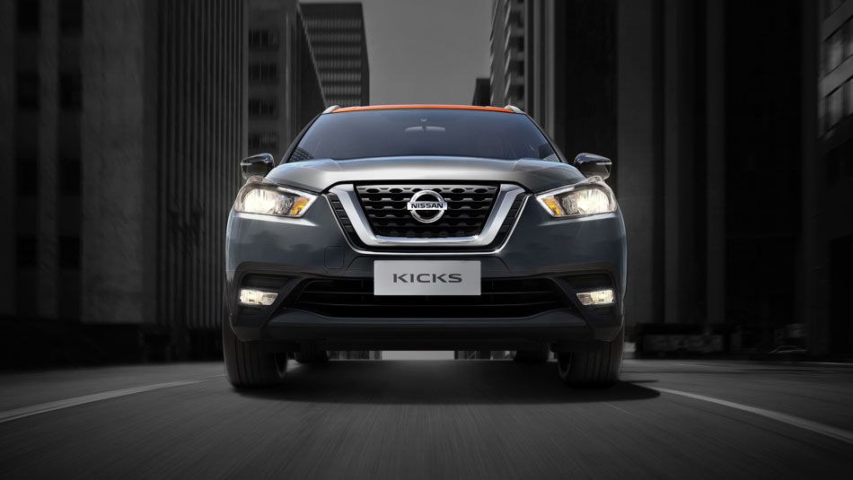 2019 KICKSTM V-Motion Grille and available LED Low Beam Headlights and LED Signature Accents