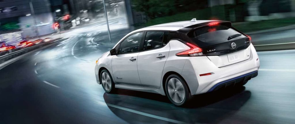 2019 Nissan Leaf white rear exterior