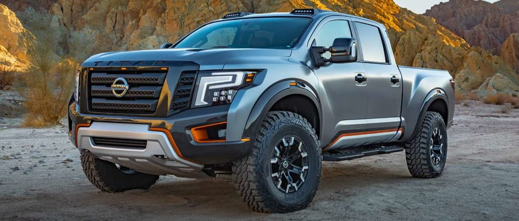 Nissan Titan Warrior Concept Truck Exterior front view in silver