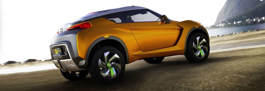 Nissan Extrem concept car in orange from the rear