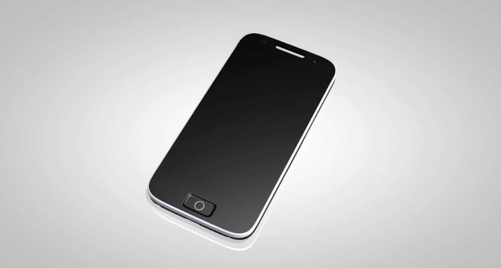 3D graphic of a smartphone in a grey background