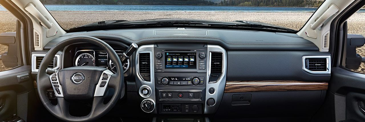 Interior of 2019 Nissan Truck, looking out the front window