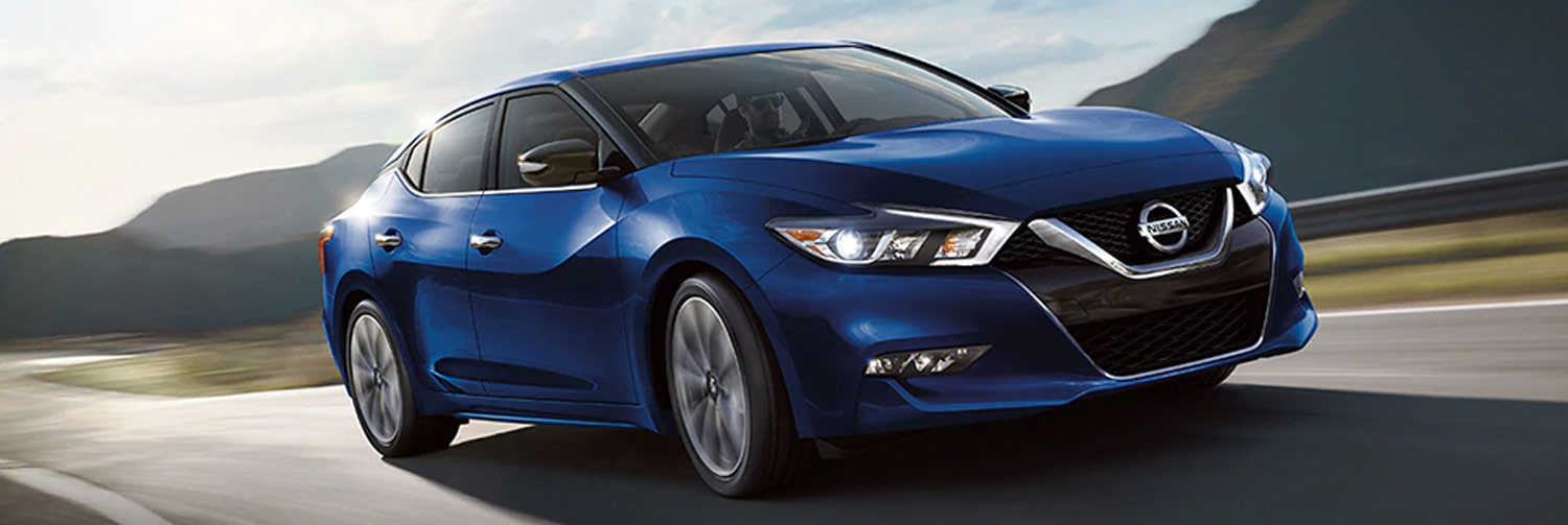 3/4 view of a 2019 Nissan Maxima in Deep Pearl Blue