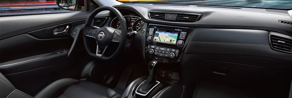Interior of 2020 Nissan Rogue with black leather