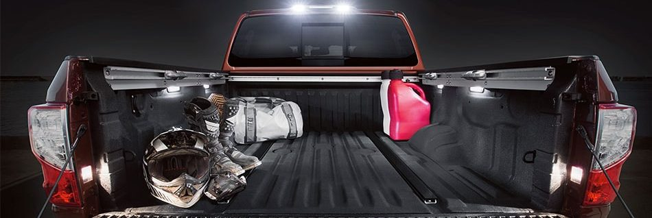 Illuminated box of 2019 Nissan Titan with gear in it