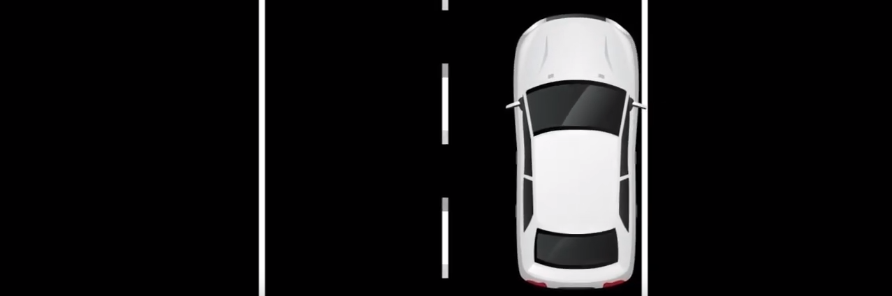 diagram of a white vehicle drifting from the center of the travelling lane