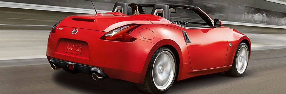 Rear shot of 2020 Nissan 370Z Roadster shown in Passion Red