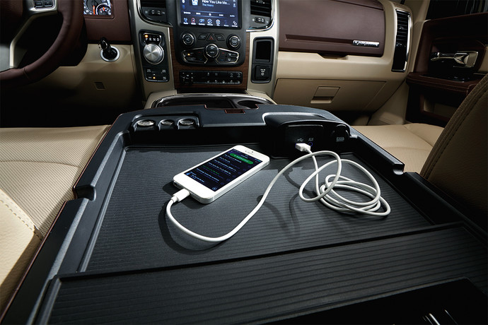 2020 Ram 1500 Classic Charging Console with iPhone or Other smart Phone