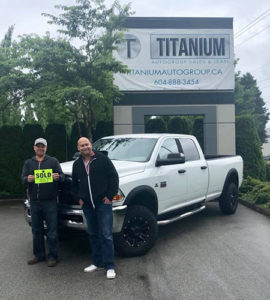 happy customer with their new truck
