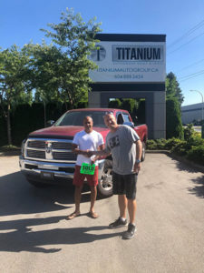 happy customer with RAM 1500 truck