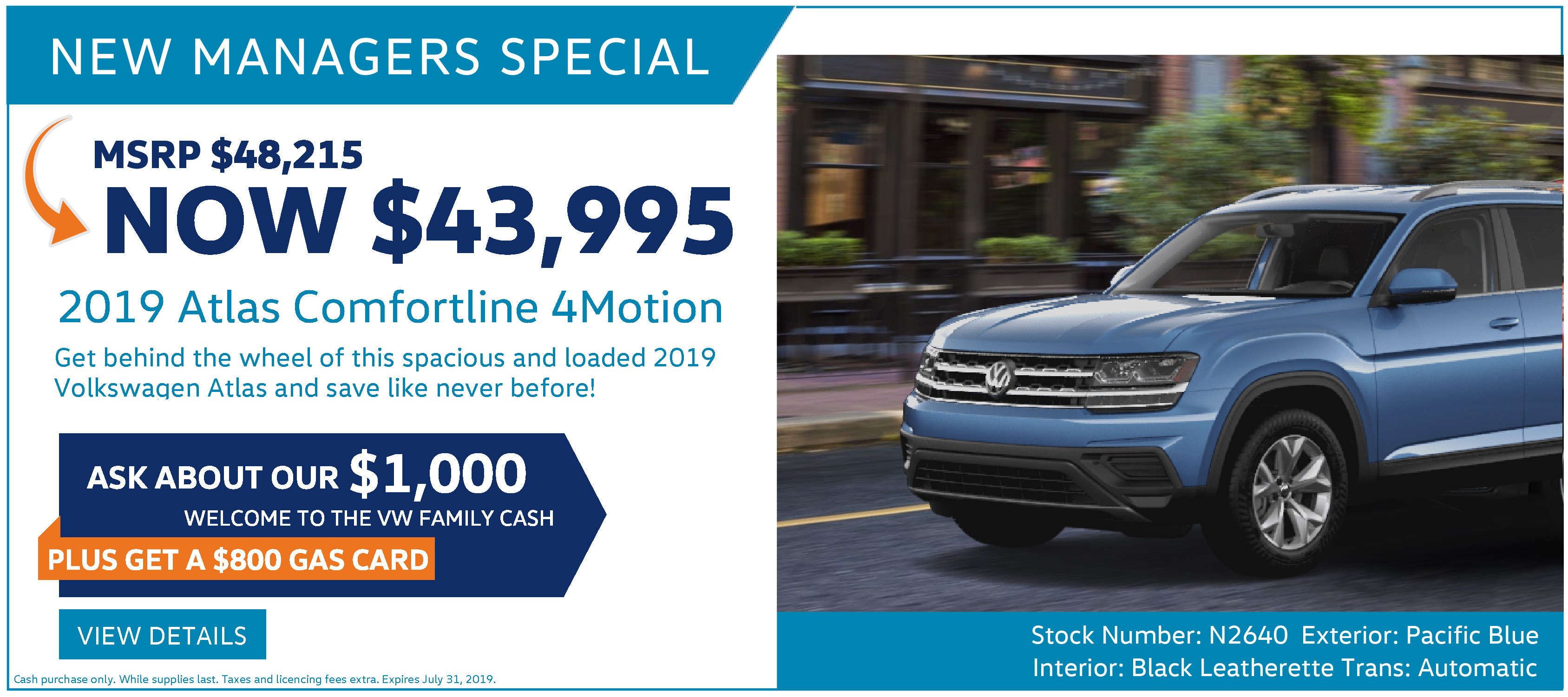 New Managers Special July Volkswagen Atlas Ottawa