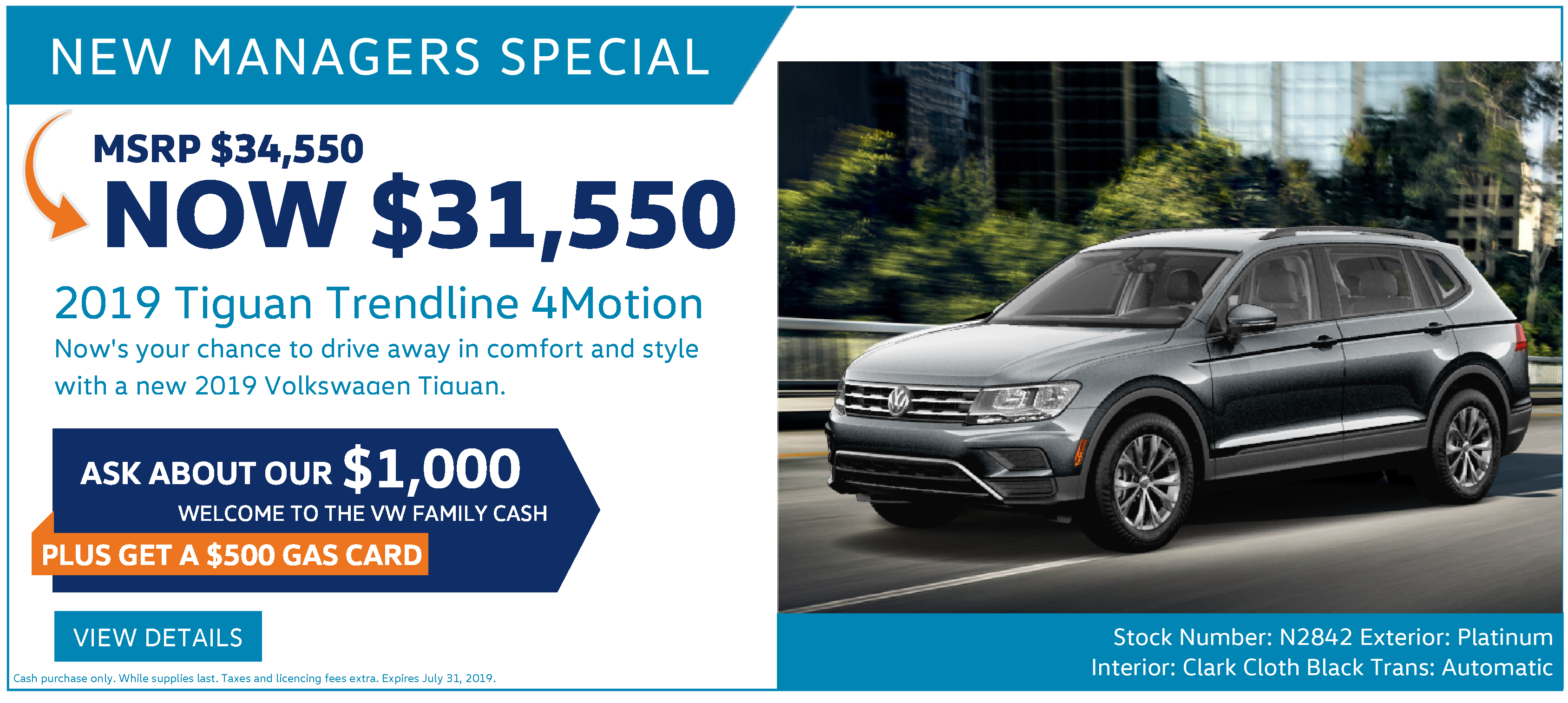 New Managers Special July Volkswagen Tiguan Ottawa