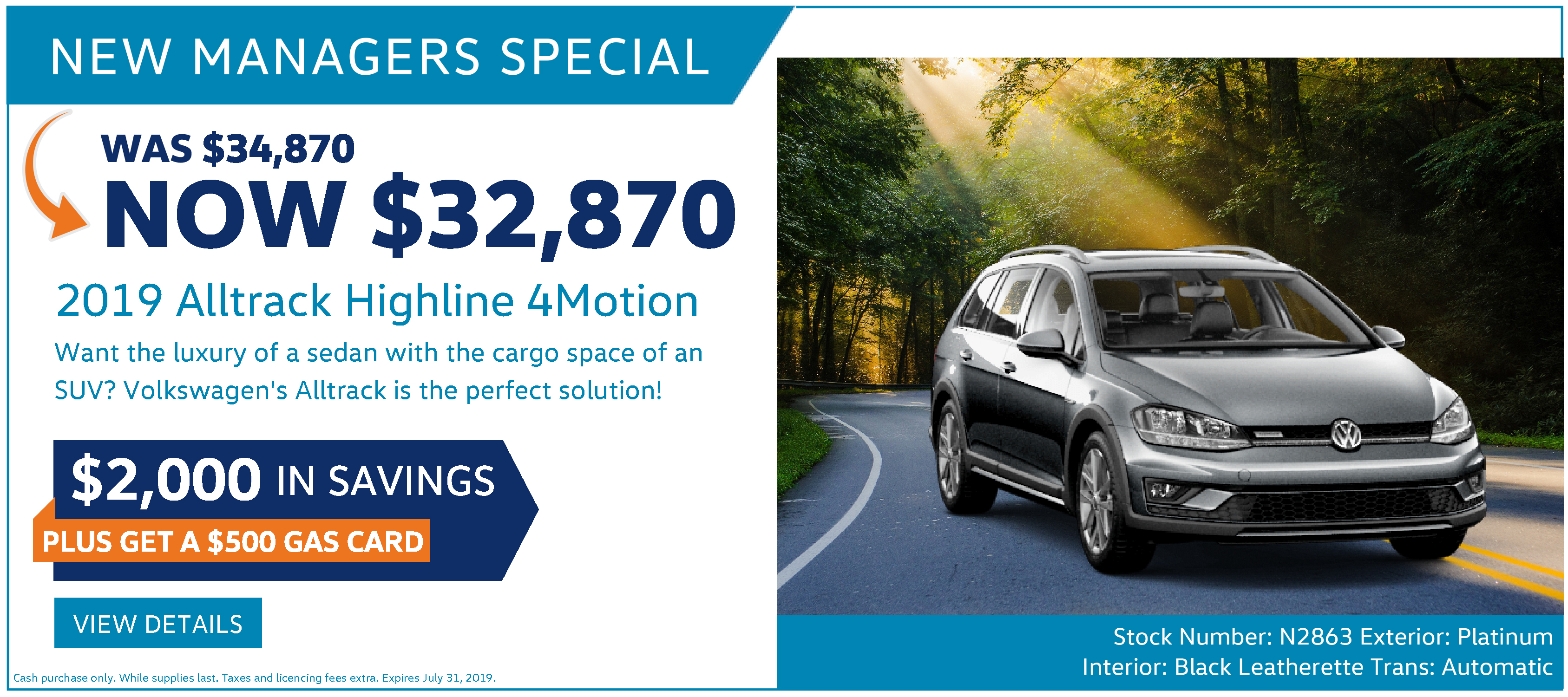 New Managers Special July Volkswagen Alltrack Ottawa