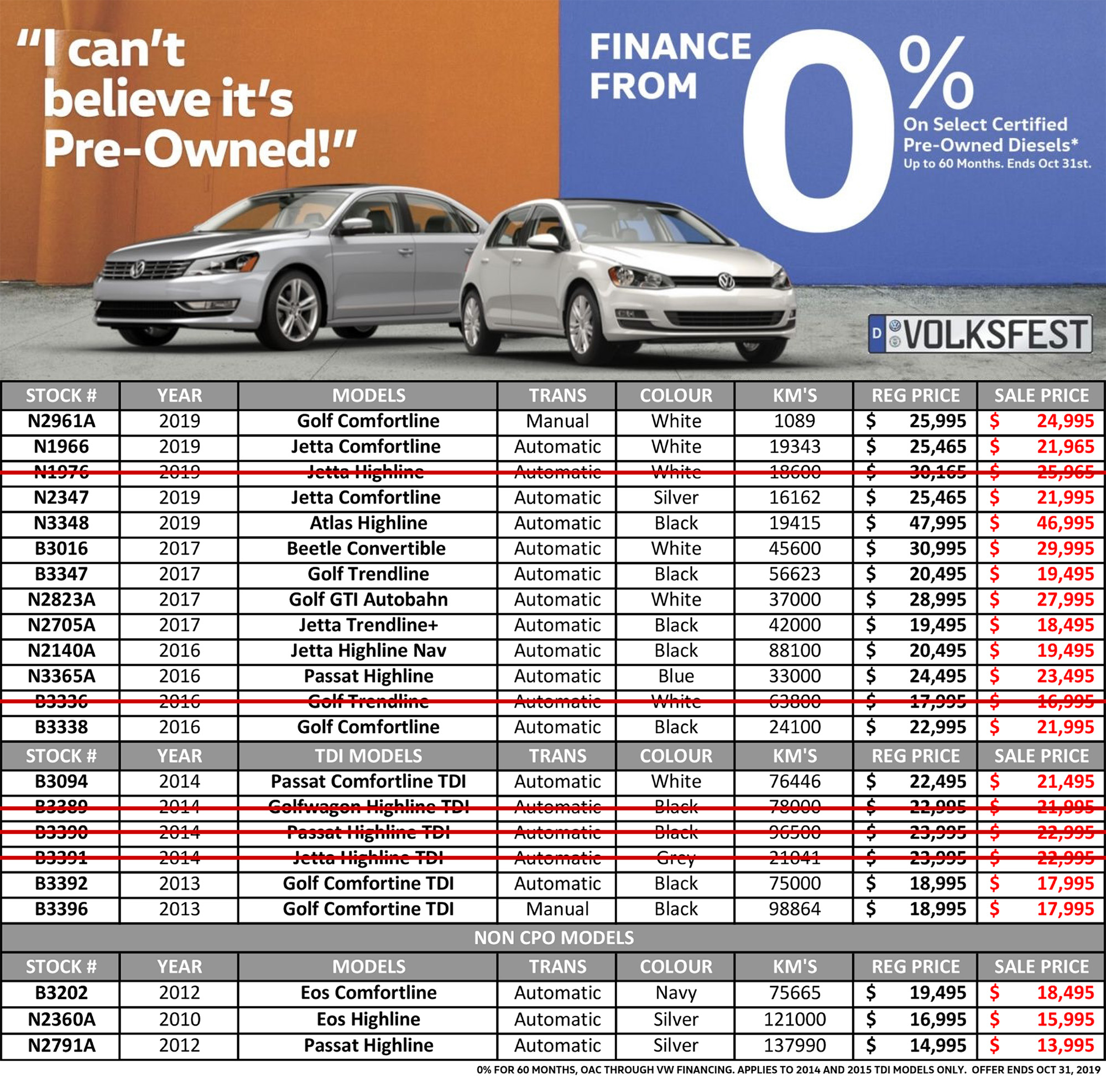 Volksfest Volkswagen Certified Pre Owned TDI Sale hunt club vw ottawa